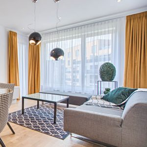 Displaying curtains in a contemporary room