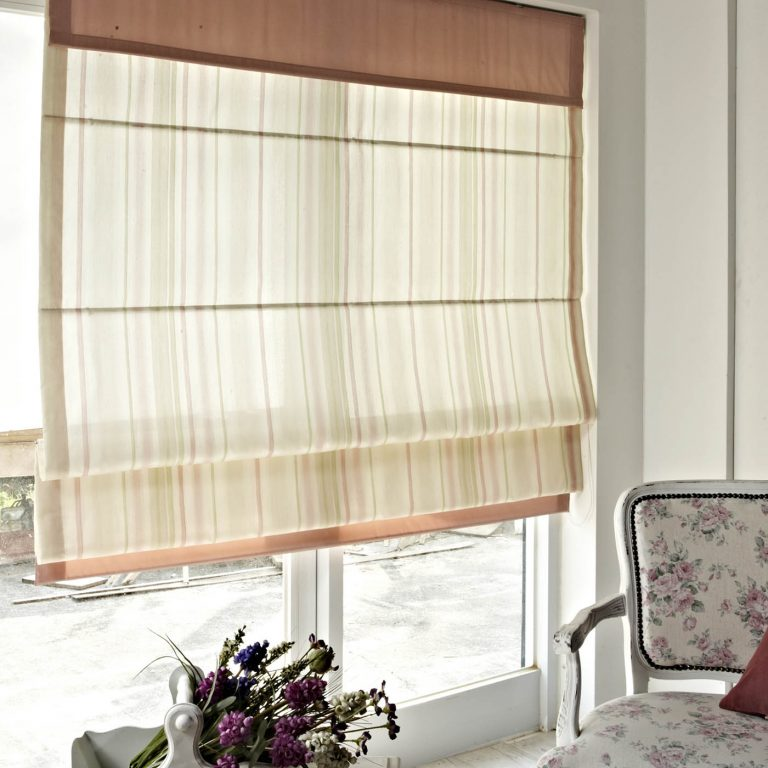 A translucent roman blind in a classic setting
