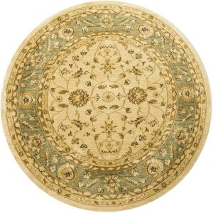 Ziegler Rug, Round, Cream and Green, 160 cm (5′ 3″)