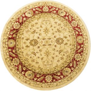 Ziegler Rug, Round, Cream and Red, 160 cm (5′ 3″)