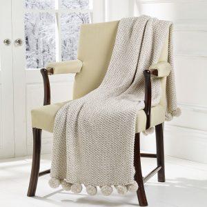 Walton & Co Cosy Knit Pom Pom Throw Linen