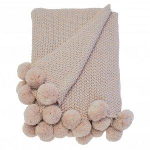 Walton & Co Cosy Knit Pom Pom Throw Blush