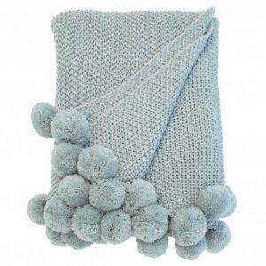 Walton & Co Cosy Knit Pom Pom Throw Opal
