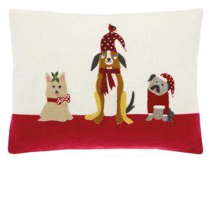 Walton & Co Festive Dogs Cushion