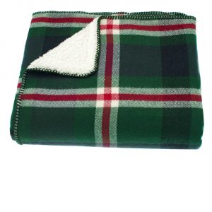 Walton And Co Tartan Sherpa Throw Green