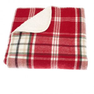 Walton And Co Tartan Sherpa Throw Red