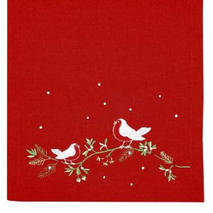 Walton And Co Embroidered Robin runner Red