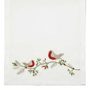 Walton And Co Embroidered Robin Runner White
