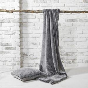Walton & Co Faux Fur Throw Charcoal