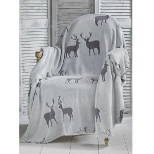 Walton & Co Stag Throw Charcoal