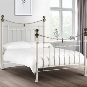 Victoria Bedstead Stone White and Brass
